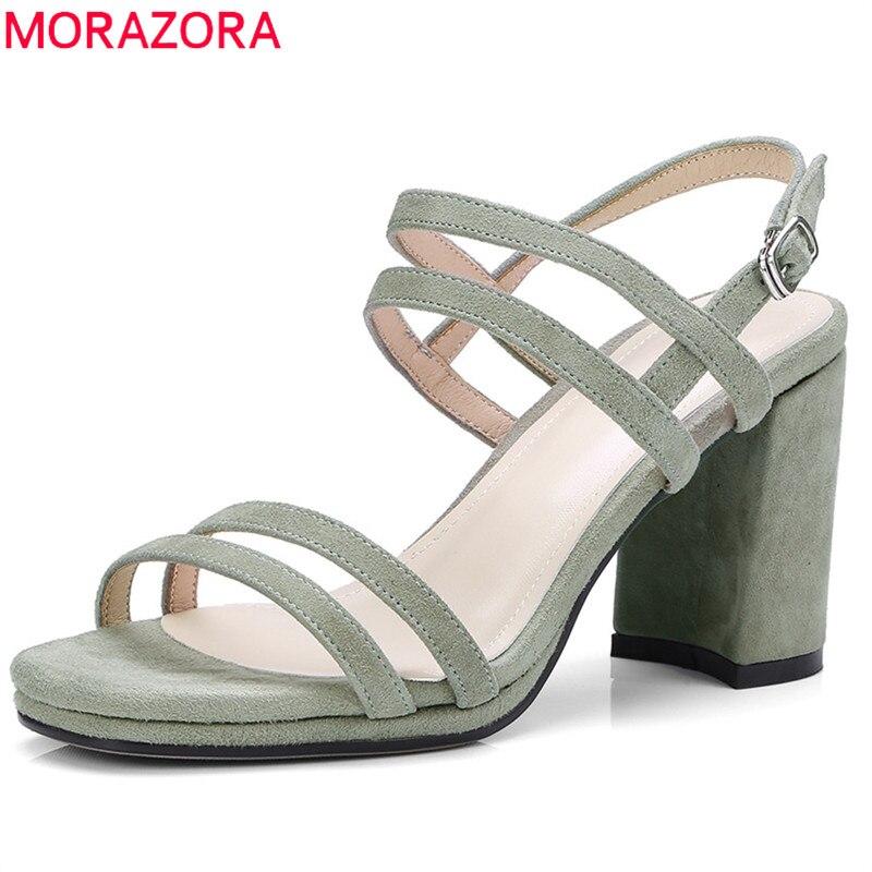 MORAZORA 2018 offre spéciale daim cuir chaussures d'été simple boucle mode robe chaussures couleur unie femmes sandales talons hauts chaussures