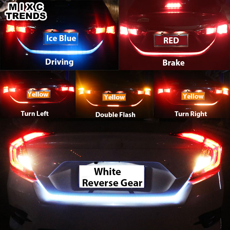 Yellow/Red/Blue/White 120cm LED Rear Trunk dynamic turn signal Tail light strip flexible tailgate luggage led warnning light d24 varta blue dynamic 60 ач москва