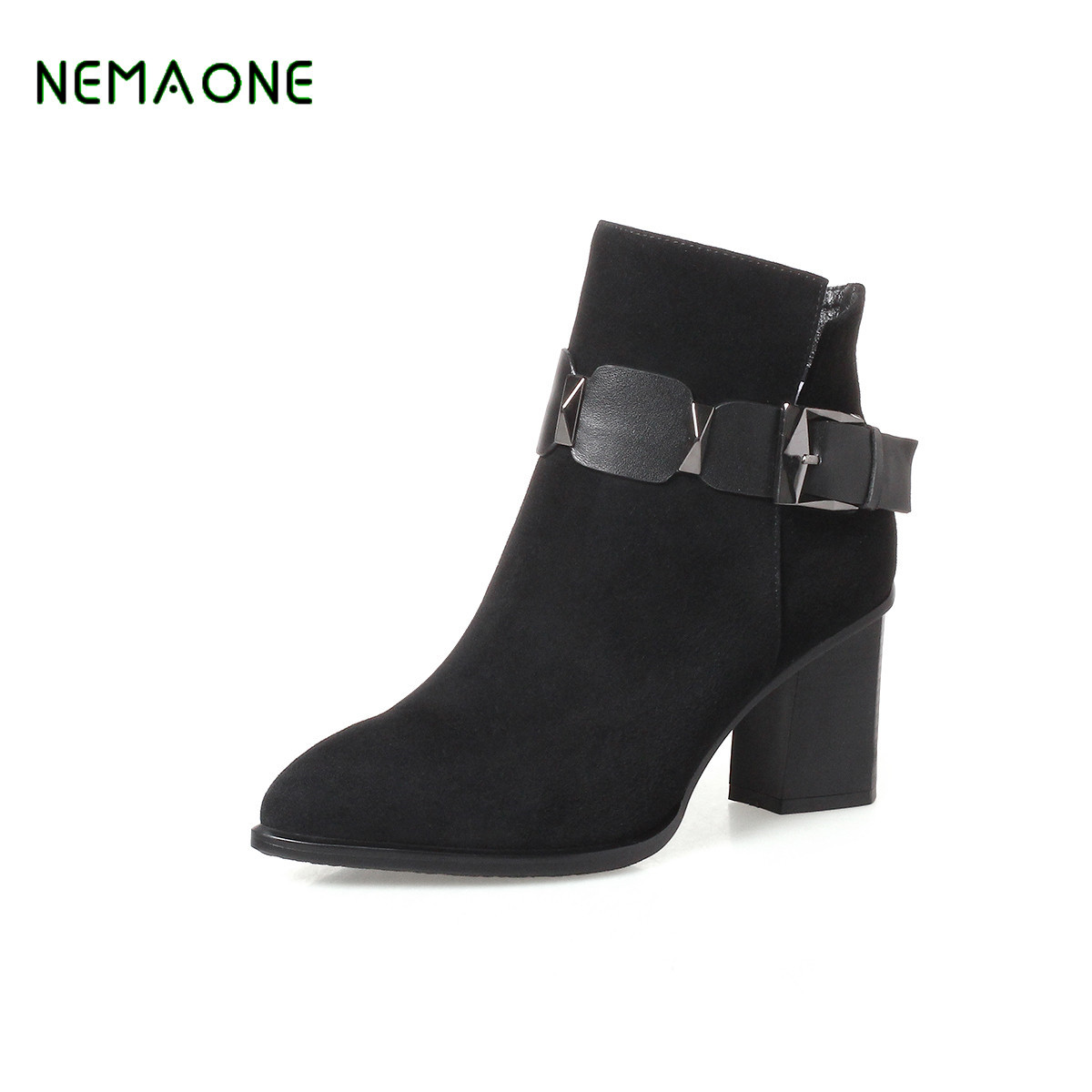 NEMAONE 2017 NEW fashion genuine leather Ankle Boots High Quality Wipe Color Fashion Women's Boots New Short Boots nemaone new fashion 2018 genuine leather