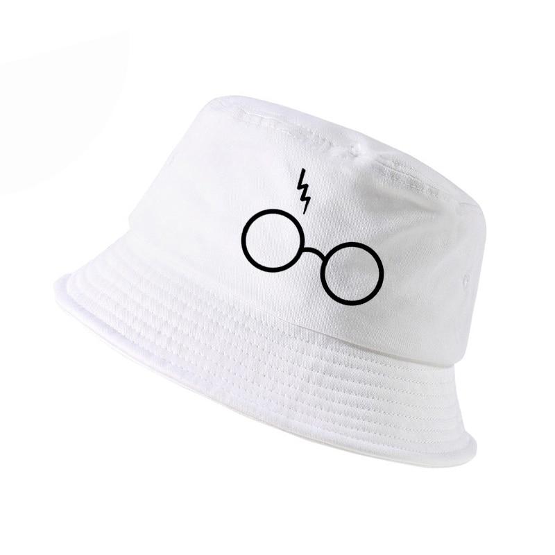 harajuku pop Men women bucket hats Lightning Glasses print fisherman hat Summer outdoor panama fishing cap