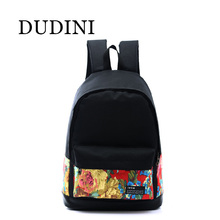 DUDINI Fahsion Women Printing Backpack Preppy Style Book Bags For Laptop Vintage Rucksack Retro Mochila