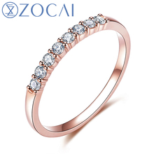 ZOCAI Brand Natural 0.2 CT Diamond Wedding Ring with 18K Rose Gold (Au750) W06206