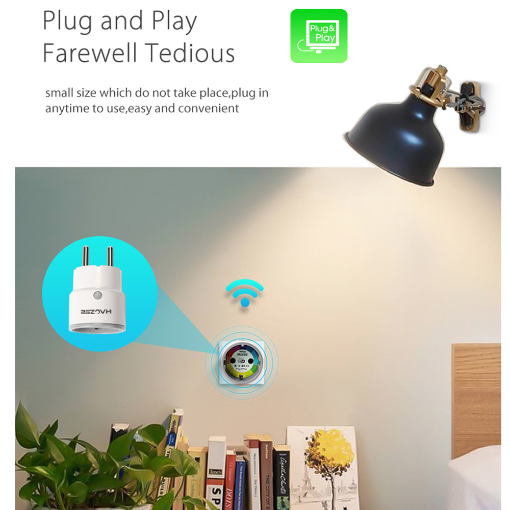 Image 2 - Haozee Smart Plug WiFi Socket 3680W 16A Power Energy Monitoring Timer Switch EU Outlet Voice Control by Alexa Google IFTTT-in Building Automation from Security & Protection