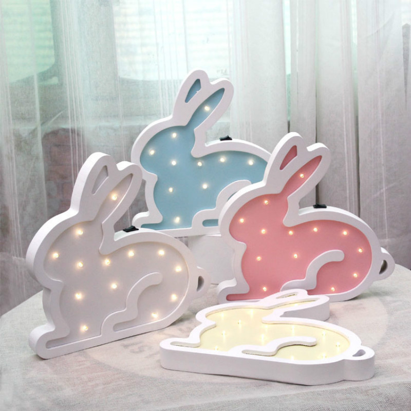 Rabbit Modeling light LED decor lighting Wood wall Decoration Baby room Night light Deck lamp for Party wedding lightIY304123-41