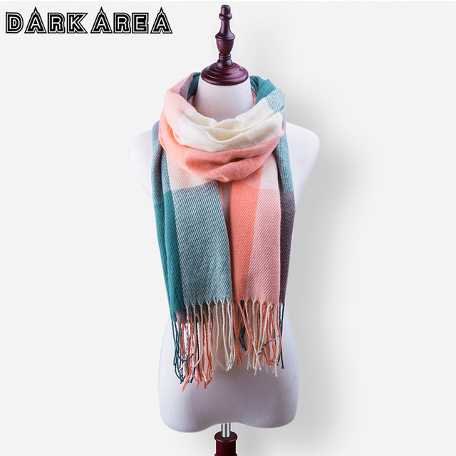 DARKAREA High Quality Women Winter Scarf Shawl 5 Colors Fashion Female Plaid Scarf Brand Women's Basic Scarves Drop Shipping