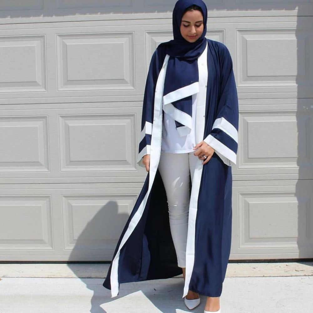 カジュアルムスリムアバヤストライプドレススカーフカーディガンロングローブ着物ラマダン中東トーブ礼拝イスラム服
