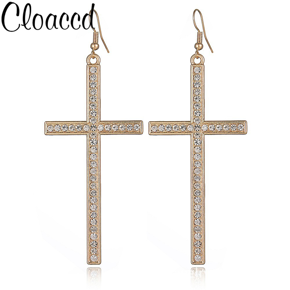 Cloaccd Fashion 3 Colors Rhinestone Drop Earrings Simple Fashion Dangle  Cross Pendant Earrings For Women Accessories