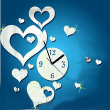 Love heart-shaped Sticker DIY Mirror2016 Wholesale High Quality Wall Clock Wall Sticker Home Decoration Free Shipping Dec 21