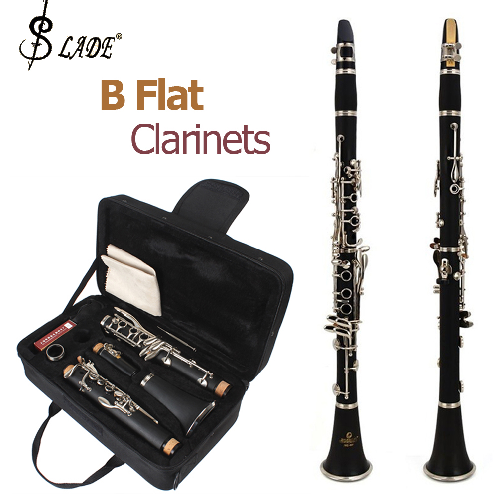 цены  SLADE Latest European Designed Clarinet Black Nickel Silver Plated 17 Keys Student Band B Flat Clarinets + Case 10 Reeds Cloth