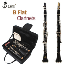 SLADE Latest European Designed Clarinet Black Nickel Silver Plated 17 Keys Student Band B Flat Clarinets + Case 10 Reeds Cloth