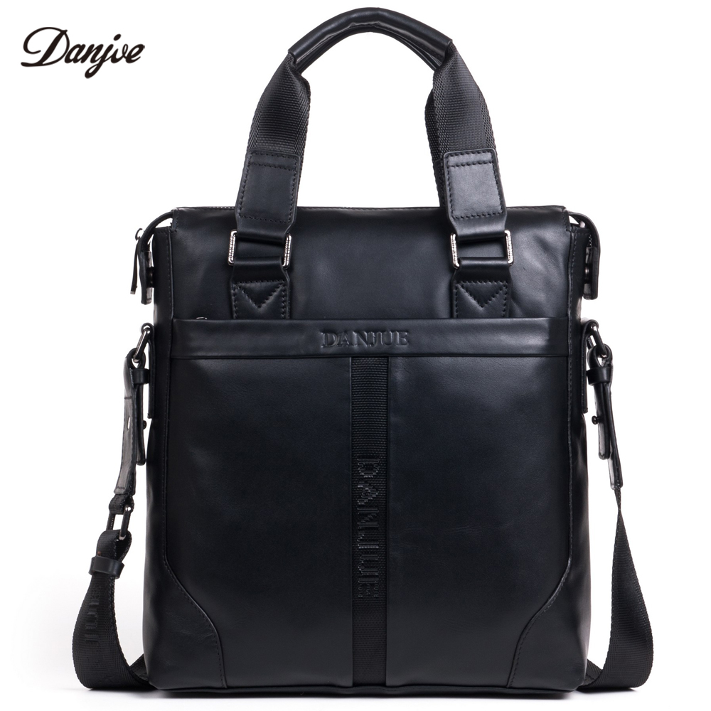 DANJUE New Genuine Leather Handbag Men Business Crossbody Bag Classic Men Bag Vertical Luxury Messenger Bag Male Large Capacity augus 100% genuine leather laptop bag fashional and classic crossbody bags leather for men large capacity leather bag 7185a