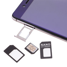 4 in 1 Nano Micro Sim Card Adapter Converter Kit Set With Pin for iPhone6 6s plus Samsung S7 Ultra-thin card adapter 2pcs/lot