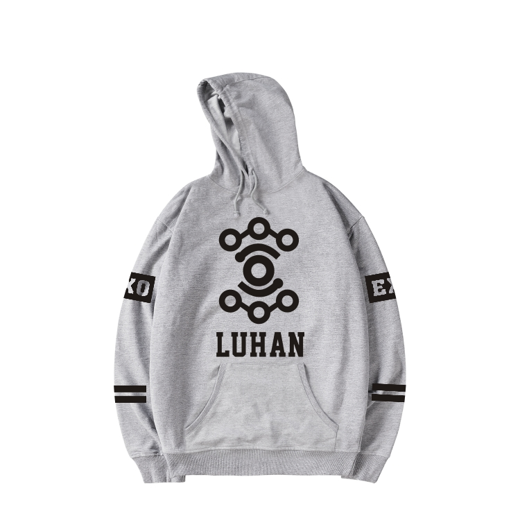 Kpop Band EXO Member Name Harajuku Hoodie Sweatshirt with Cap in Gray Navy Blue Women Autumn Streetwear Fans Outwear Plus Size