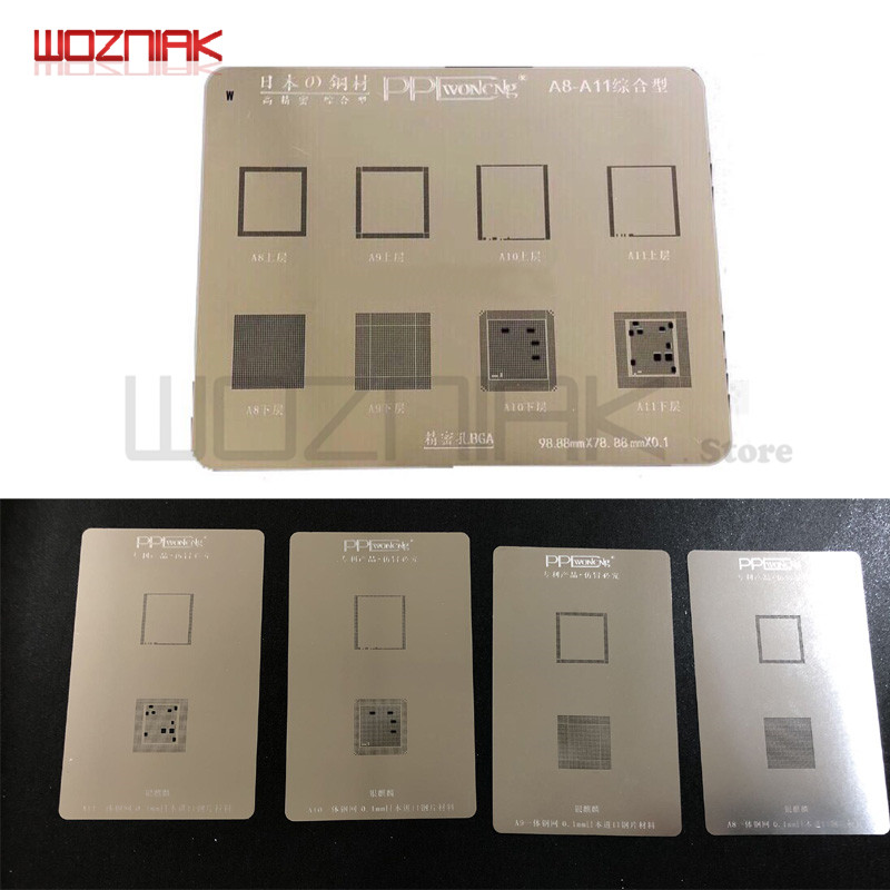 Wozniak PPD 6 6s 6p 6sp 7 7p 8 8p x Plant Tin Net per Iphone A8 A9 A10 A11 CPU pezzo unico Chip Solder Pasta perline di stagno Mesh Repair