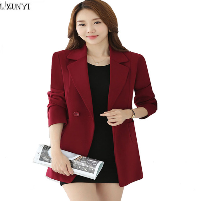 7517b9f7be Korean Ladies Blazers With Button Spring 2017 Medium Long Slim Office Women  Blazers And jackets Plus