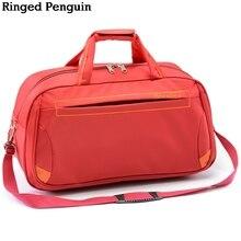 Ringed Penguin Women's Travel Tote Nylon Большая емкость Портативная сумка Duffle Сумка Водонепроницаемые сумки для мужчин
