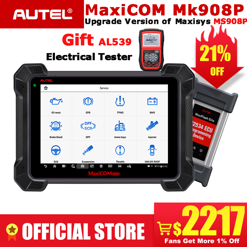 MaxiCom MK908P Autel OBDII ECU Programação Testador OBD2 Auto Scanner Ferramenta de Diagnóstico Programador J2534 PK Elite MS908P Maxisys Pro