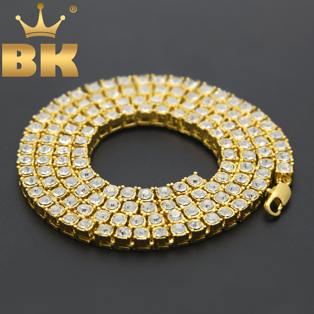Men's Hip Hop Bling Bling Iced Out Tennis Chains 1 Row Necklaces Luxury Brand Silver/Gold Color Men Chain Fashion Jewelry