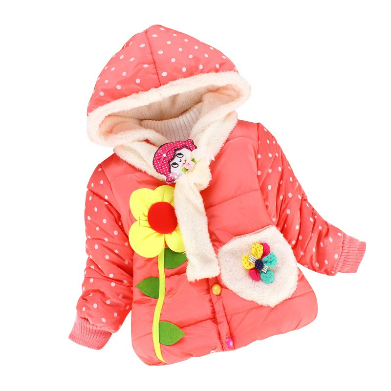 Baby Girl Winter Coats Hooded Jacket Flower Children Outerwear Jackets Toddler Girls Clothes