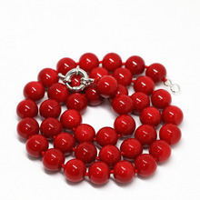Charms artificial red coral 8mm fashion round beads necklace hot sale jewelry women party best elegant gift 18inch B1467