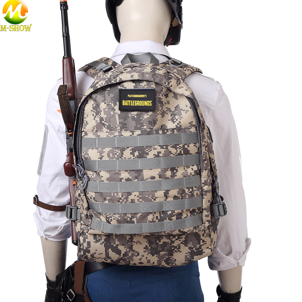 Game <font><b>PUBG</b></font> <font><b>Backpack</b></font> Playerunknown's Specia Force Knapsack Cosplay Prop Oxford 3 Level Camouflage Waterproof Bag image