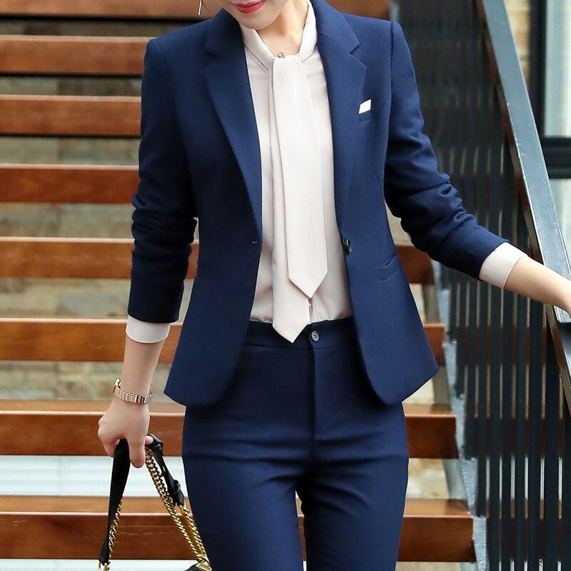 Moda spódnica suits kobiety ubrania jesień zima biznes wywiad formalne marynarka i spódnica biuro panie plus size mundury pracy w Spódnice do garsonki od Odzież damska na  Grupa 2