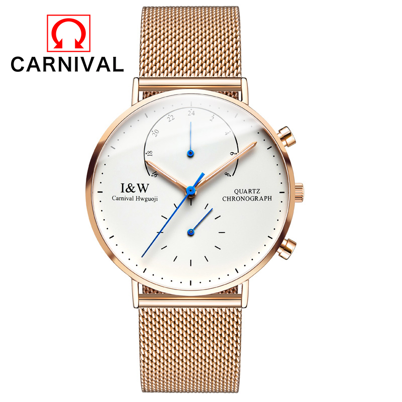 New Fashion Mens Watches Top Brand Luxury CARNIVAL Men Quartz Watch Mesh Band Stainless Steel Ultra Thin Clock Relogio Masculino