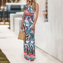 Floral Print Beach Dress Elegant Women Holiday Sexy Fashion Boho Ethnic Chic Sleeveless Summer Casual Wrap Maxi Dresses Female chic floral imprint sleeveless womens maxi dress