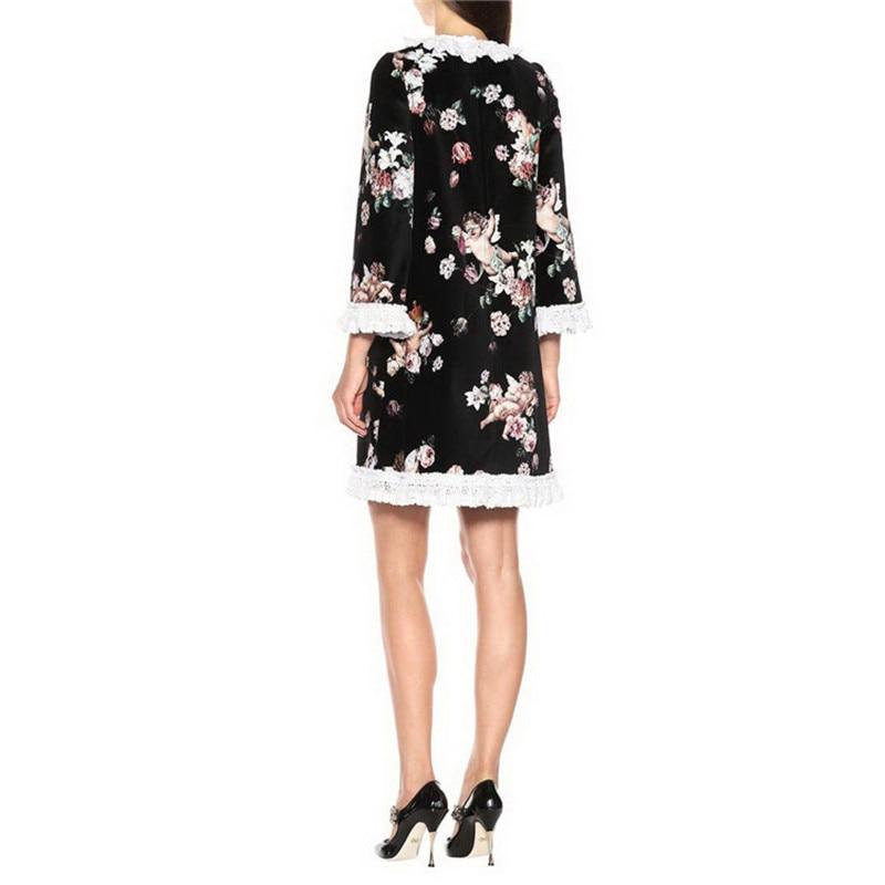 Courte Robes Robe Noir Dentelle 2018 De Piste Animé Mini Multi Marque Designer Automne Mignon Dessin Imprimé Partie Impression Femmes Féminine Q088 nwZ0ATZqr