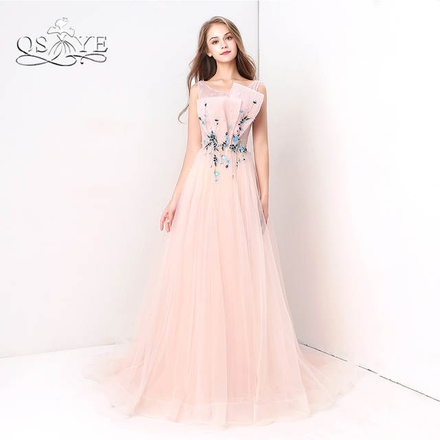 fa4eba9b2cb Online Shop QSYYE Pink Long Prom Dresses 2018 Robe de Soiree 3D Floral  Ruched Lace Tulle Sleeveless Formal Evening Dress Custom Made