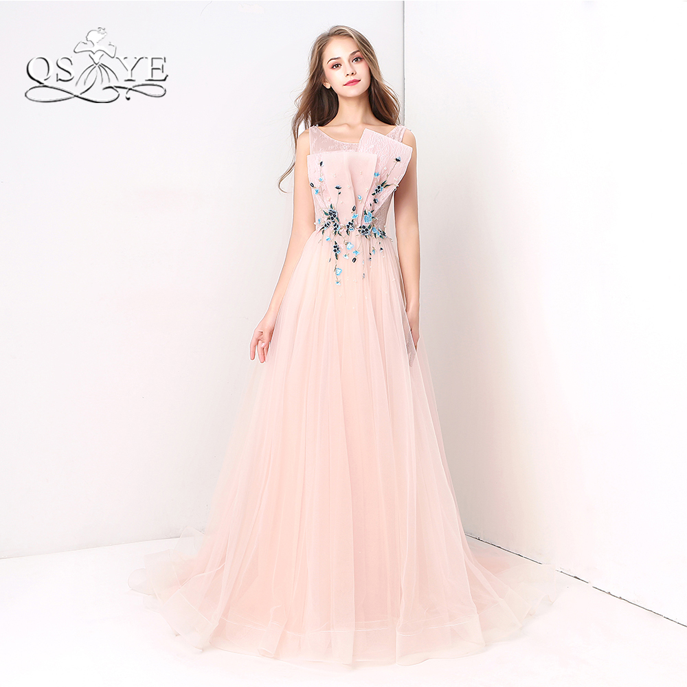 QSYYE Pink Long   Prom     Dresses   2018 Robe de Soiree 3D Floral Ruched Lace Tulle Sleeveless Formal Evening   Dress   Custom Made