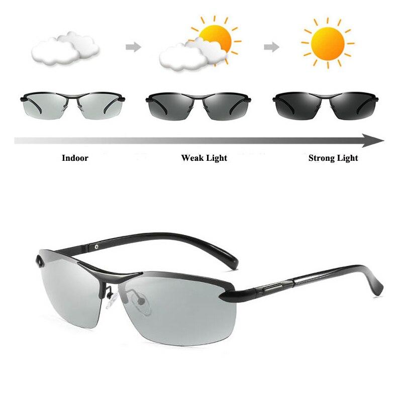 501eddb5fd564c 2018 AORON Aluminium Alliage Polarisées Photochromiques lunettes de Soleil  Femmes Hommes de Décoloration Lunettes Mâle Lunettes ...