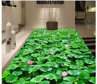 3D wall custom murals pvc floor wallpaer bathroom floor painting 3 d lotus self adhesion floor wallpaper 3d room wallpaper