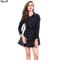2017 Spring New Arrival Casual Slim Elegant OL Style Women Dress Turn Down Collar Long Sleeve