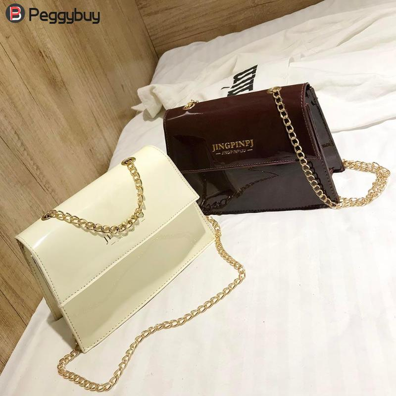 2018 Fashion Teenage Girls Chain Shoulder Bags Casual Glossy Crossbody Bag Patent Leather Letter Print Handbag Hasp Button Bolsa chain houndstooth print crossbody bag