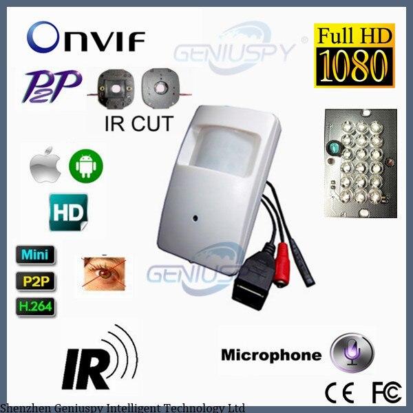 940nm ИК-светодиодов Ночное видение Full HD 1080 P ПИР скрытой скрыть IP-сети видеонаблюдения Аудио Камера 3,7 мм Поддержка P2P ONVIF микрофон и телефон
