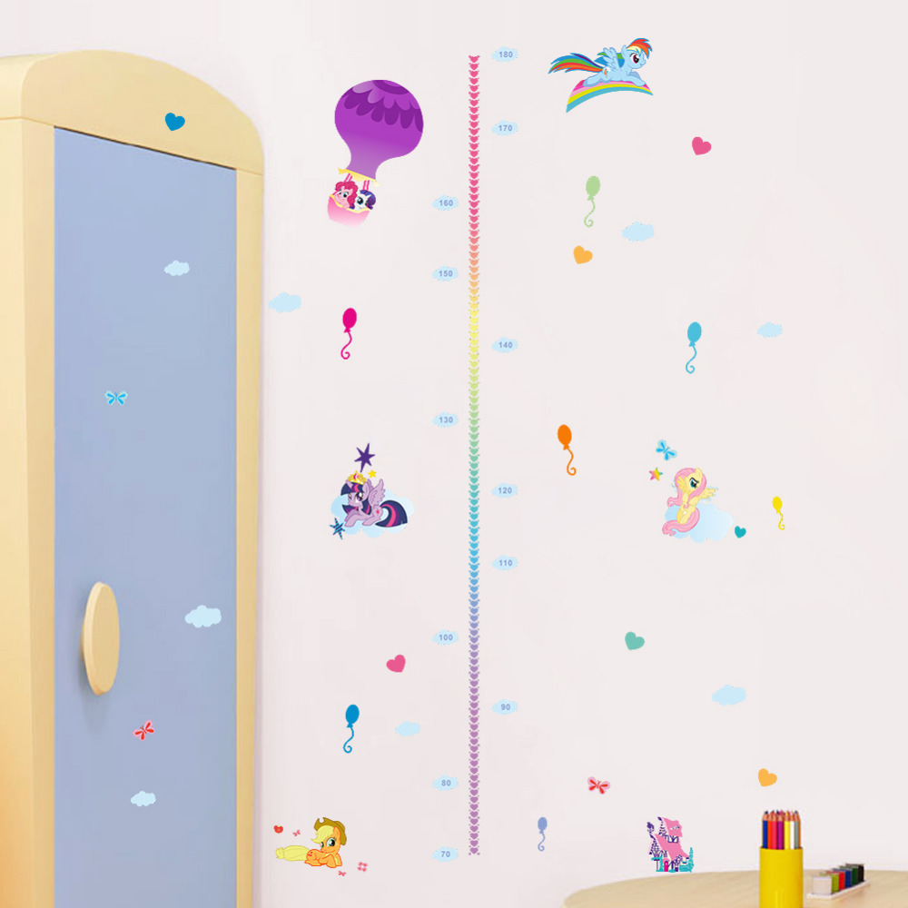 cute colorful cartoon flying horse child baby height measure growth chart wall sticker for kids room nursery girl bedroom art