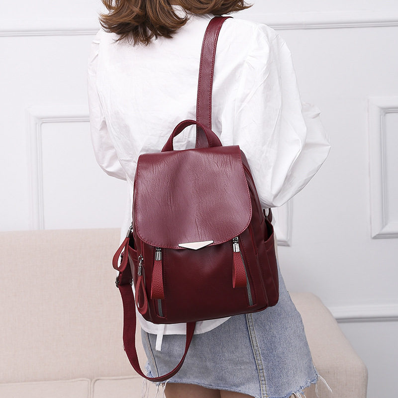 Women Waterproof Anti-theft Backpack Solid Color Leather Bag with Adjustable Straps MSJ99Women Waterproof Anti-theft Backpack Solid Color Leather Bag with Adjustable Straps MSJ99