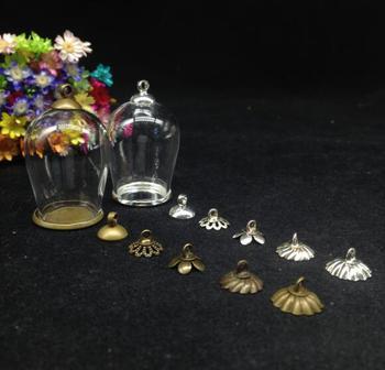 50pcs 30*18mm Cloche oval shape arch wishing bottle jars flat bottomed classivc tray glass vial pendant craft  glass globe cover