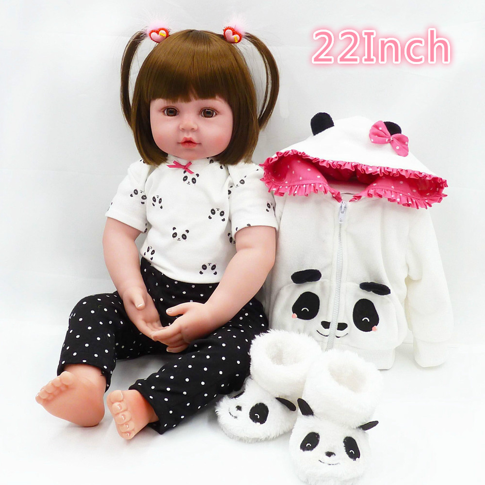 New Arrival 22 Inch Soft Silicone Reborn Realistic Baby Girl Doll Newborn Princess Bonecas Playmate Gift For Kid Christmas Toys