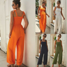 2019 New Womens Solid Color Beach Ladies Romper Stylish Holiday Jumpsuit Casual Strappy Sleeveless
