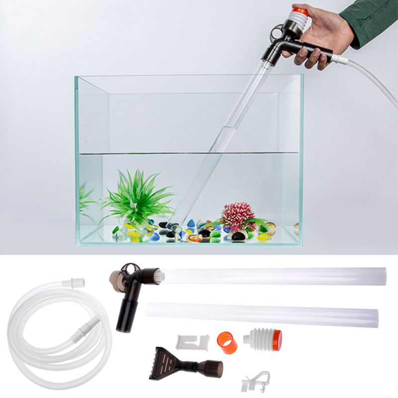 Aquarium Fish Tank Cleaner Quick Release Aquarium Vacuum Siphon Pump-Fish Tank Drainer Gravel Cleaner Water Filter