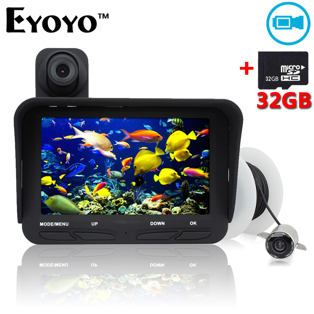 Eyoyo 20m Professional Night Vision Underwater Fishing Camera Fish Finder DVR Video Infrared LED+Overwater Camera Free 32GB Card 7hb dvr 30m fish finder video underwater fishing camera 4 3 monitor night vision 30m