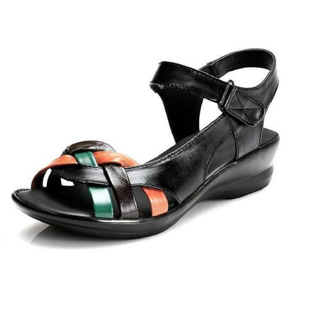 Genuine Leather Women Sandals Shoes Woman Summer Wedge Sandals Women Color Block Decoration Sandals Mother Shoes Plus Size 35-42