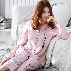 Image 2 - Женская Хлопковая пижама с длинным рукавом BZEL, розовая пижама с рисунком лисы, домашняя одежда для отдыха, M 3XL