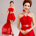 2016 New Stock Plus Size Women Bridal party Gown Wedding party Dress Red Halter Sexy Low-high Short Bridesmaid dress 2872