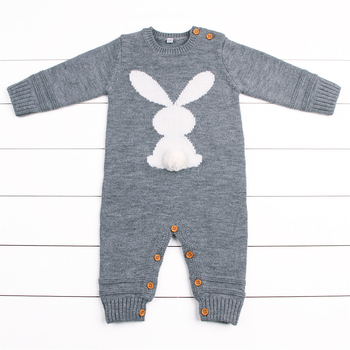 Rabbit Knitted Bunny Rompers for Newborns Jumpsuits Infant Bebes Boy Girl Long Sleeve Overalls Toddler Children's Easter Outfits 1
