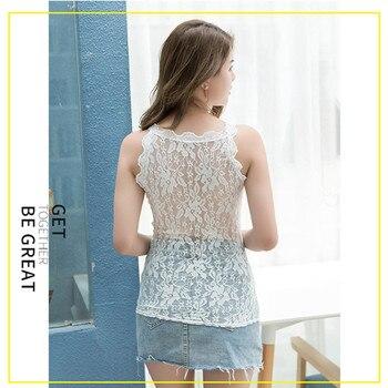 Women Modal V-neck Tank Tops Sexy Lace