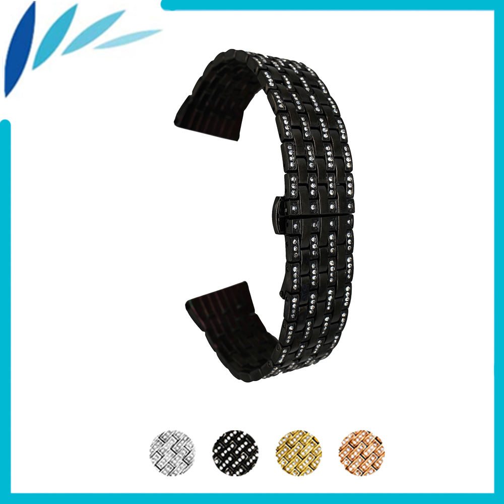 Stainless Steel Watch Band 21mm for Orient Watchband Push-Button Hidden Clasp Metal Strap Loop Wrist Belt Bracelet Black Silver carlywet 22 24mm silver solid screw links replaceme 316l stainless steel wrist watch band bracelet strap with double push clasp