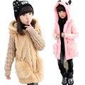 110-160 cm Girls Winter Faux Fur Coat Chaqueta Larga Con Capucha Chaqueta de Invierno Cálido ropa de Abrigo para Los Niños Niño Moda chicas Top